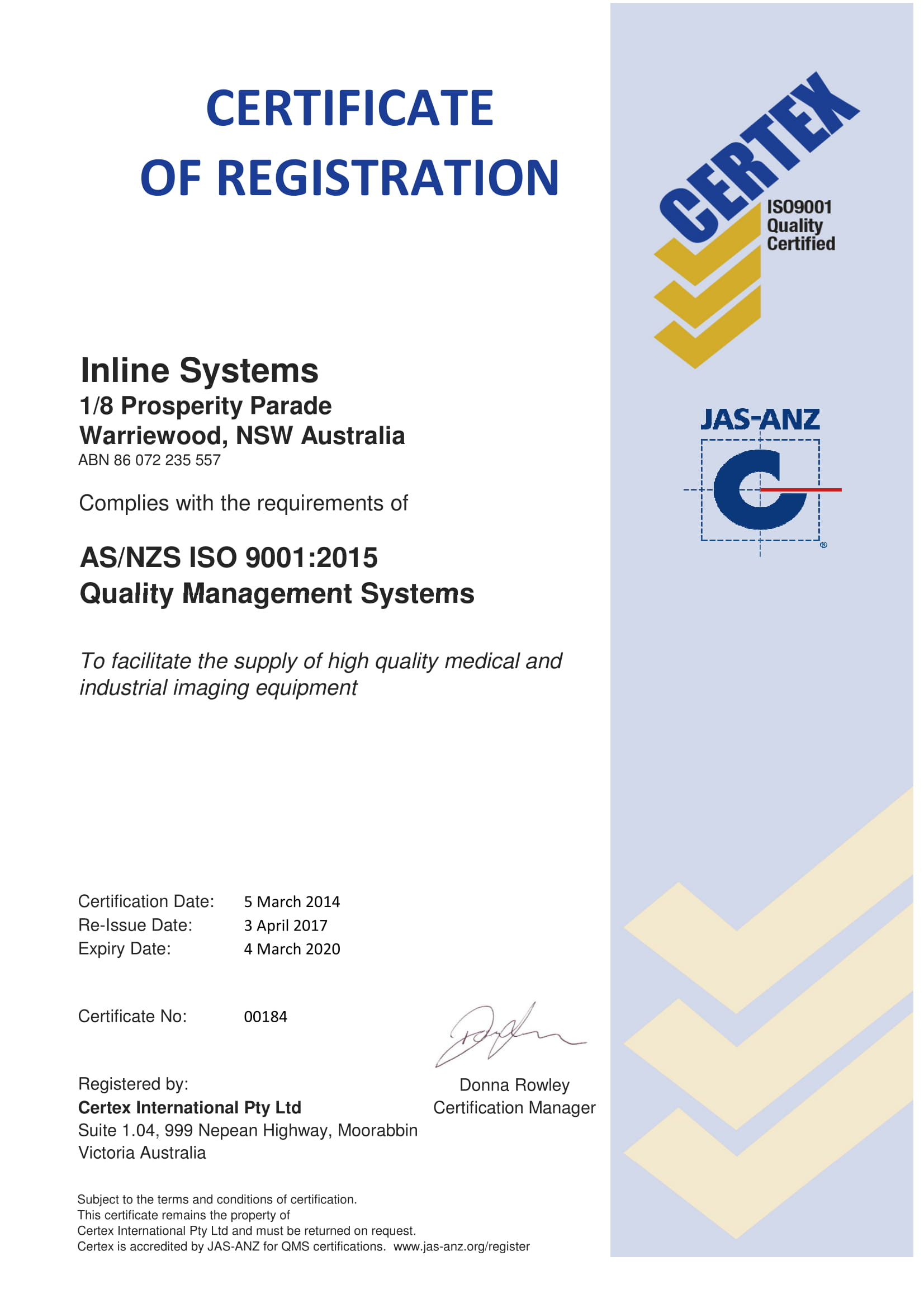 Quality Management Certification Inline Systems